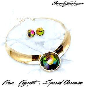Jewelry - Mystic Topaz Gold Collar Necklace Set